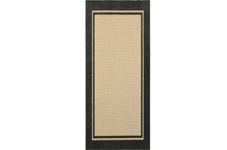 27X90 Outdoor Rug-Black Double Border - Main