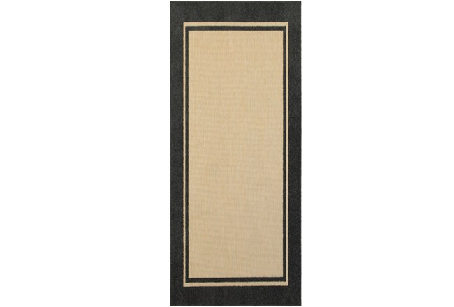 "2'3""x7'5"" Outdoor Rug-Black Double Border - 360"