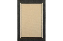 "1'9""x3'3"" Outdoor Rug-Black Double Border"