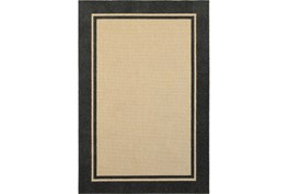 63X90 Outdoor Rug-Black Double Border