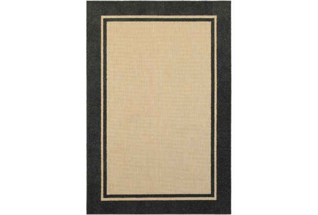 79X114 Outdoor Rug-Black Double Border - 360