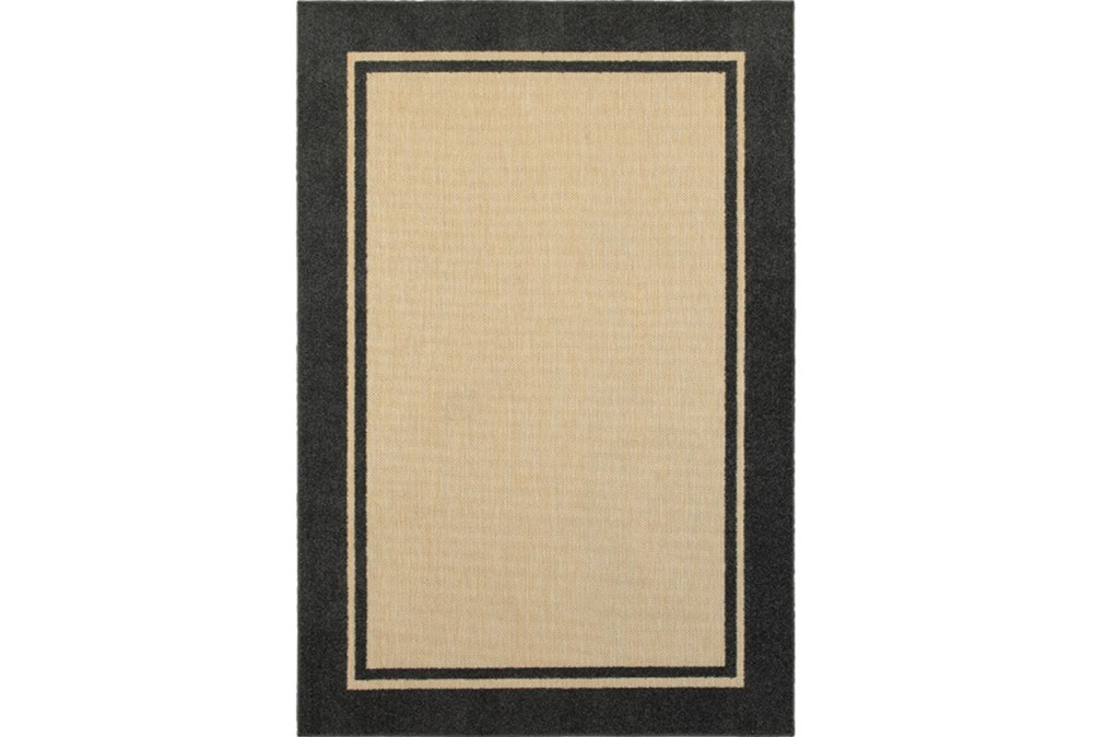 "7'8""x10'8"" Outdoor Rug-Black Double Border"