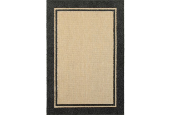 118X154 Outdoor Rug-Black Double Border - 360