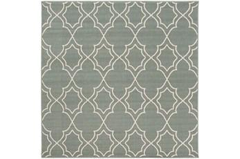 87x87 Square Rug-Sage Latticework
