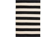 2'x3' Rug-Black & White Cabana Stripe