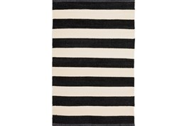 5'x8' Outdoor Rug-Black & White Cabana Stripe