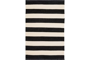 60X96 Outdoor Rug-Black & White Cabana Stripe