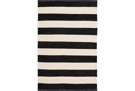 60X96 Outdoor Rug-Black & White Cabana Stripe