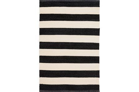 60X96 Outdoor Rug-Black & White Cabana Stripe - Main