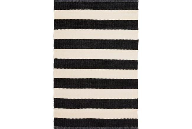 60X96 Outdoor Rug-Black & White Cabana Stripe - 360