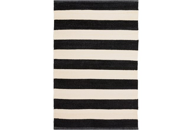 5'x8' Outdoor Rug-Black & White Cabana Stripe - 360