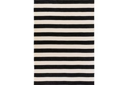 8'x11' Outdoor Rug-Black & White Cabana Stripe