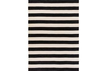 8'x11' Outdoor Rug-Black & White Cabana Stripe