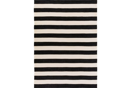96X132 Outdoor Rug-Black & White Cabana Stripe
