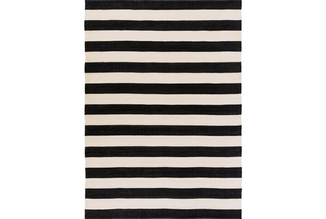 96X132 Outdoor Rug-Black & White Cabana Stripe - 360