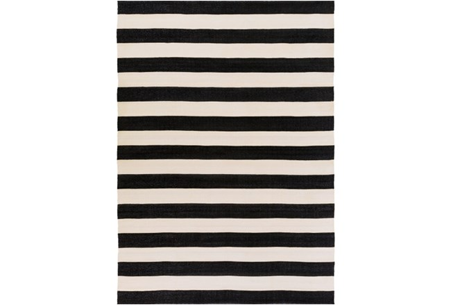96x132 Outdoor Rug Black Amp White Cabana Stripe Living Spaces