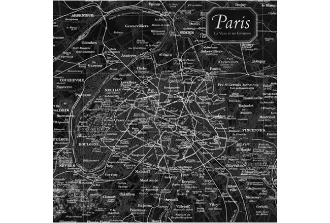 Picture-Vintage Map B & W Paris - 360