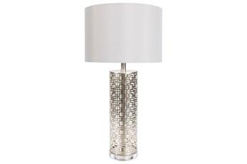 Table Lamp-Silver Greek Key