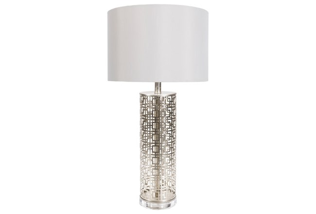 Table Lamp-Silver Greek Key - 360