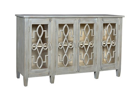 Light Finish 75 Inch 4-Door Sideboard