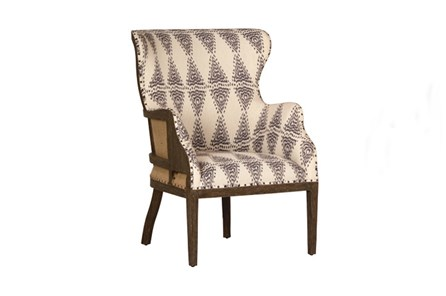 Mindi Wood Grey Pattern Occassional Chair - Main