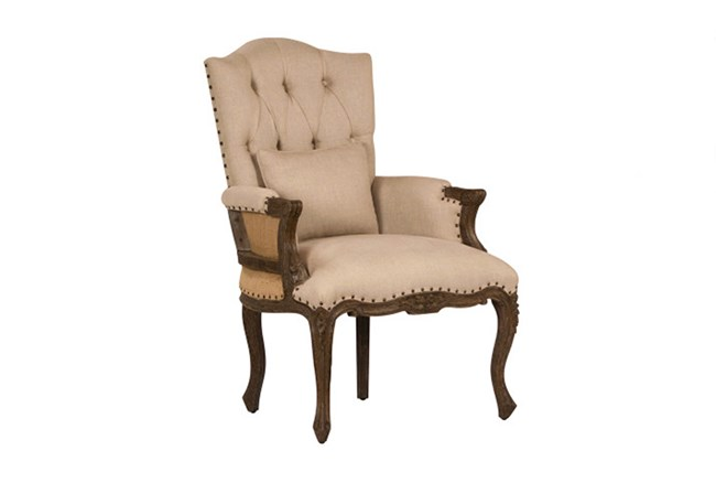 Beige Tufted Occassional Chair - 360