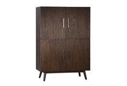 Brown Oak Wood 63 Inch Tall Cabinet