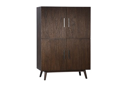 Brown Oak Wood 63 Inch Tall Cabinet - Main