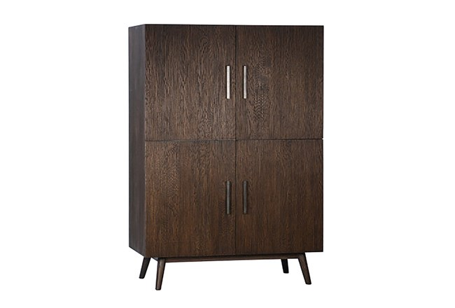 Brown Oak Wood 63 Inch Tall Cabinet - 360