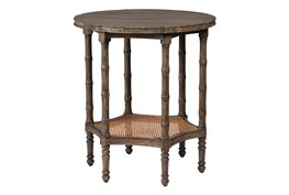 Brown Old Wood 26 Inch Round Side Table