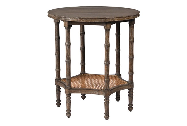 Brown Old Wood 26 Inch Round Side Table 360 Elements