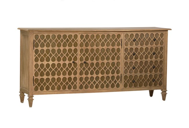 Natural Oak Wood 78 Inch Sideboard - 360