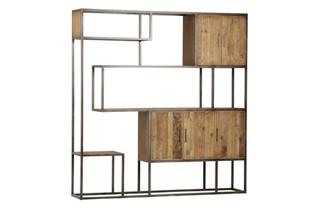 Light Rustic Black Wall Unit