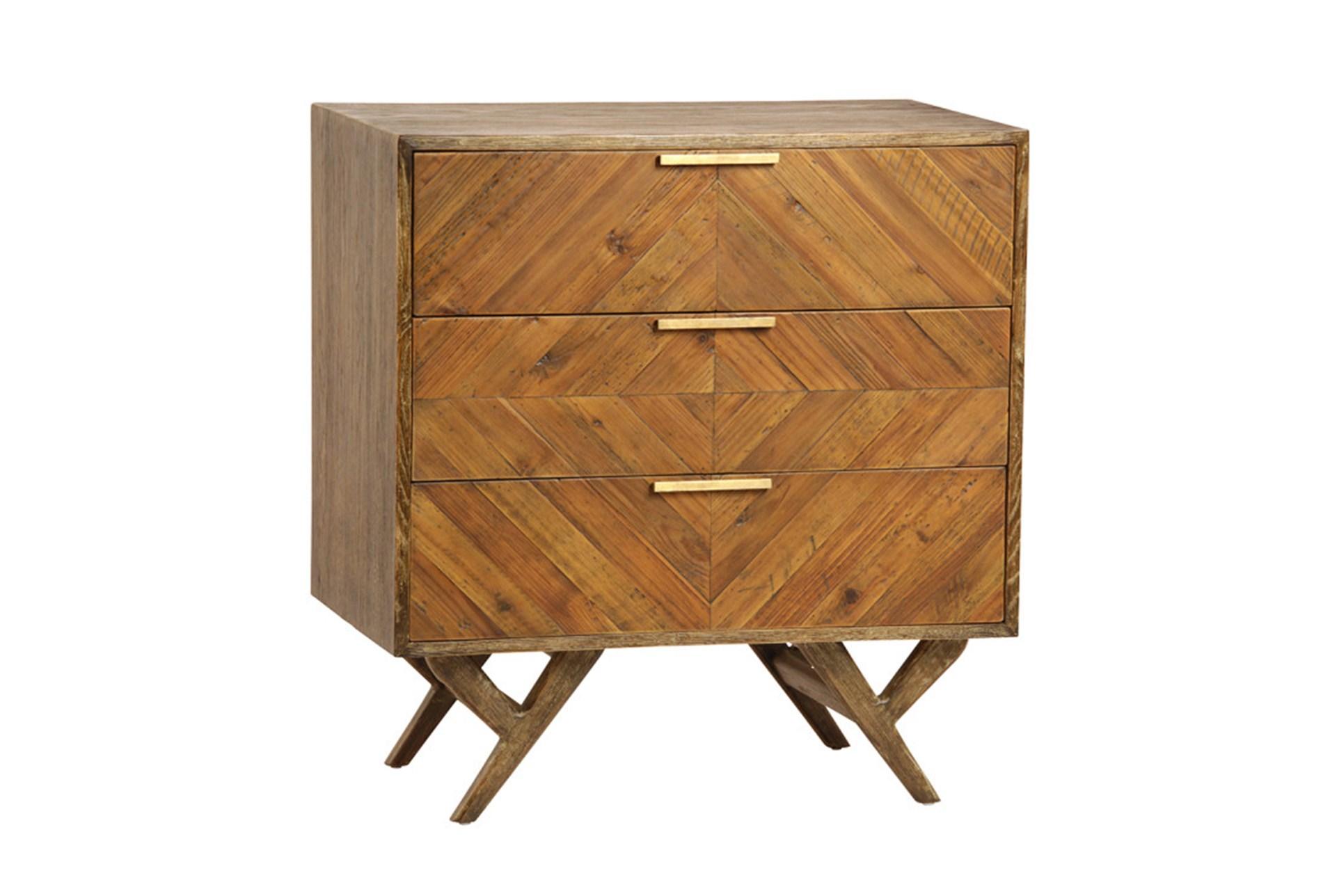Natural Pine Wood 3 Drawer Dresser
