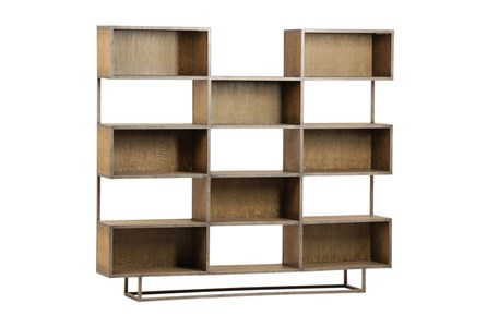 Brown Burnt Oak Wood 71 Inch Bookcase
