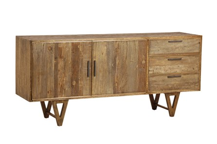 Mid Burnt Oak 71 Inch Sideboard - Main