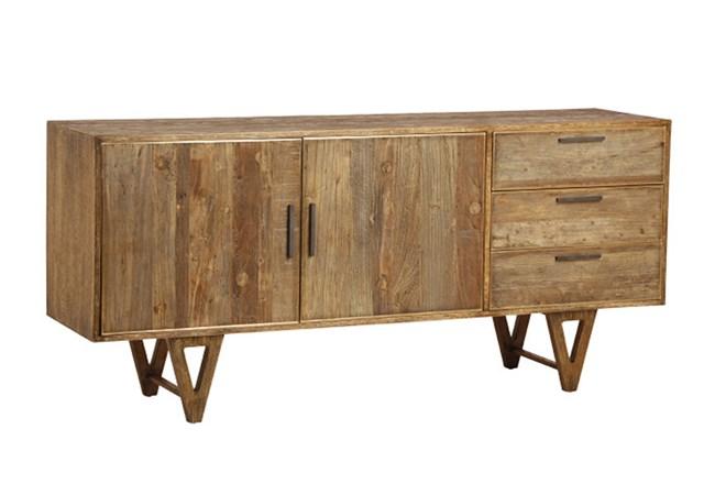 Mid Burnt Oak 71 Inch Sideboard - 360
