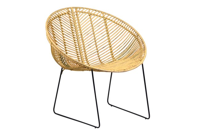 Natural Rattan Metal Round Chair - 360