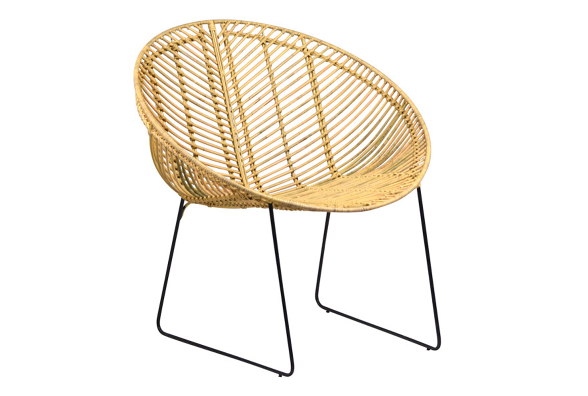 Natural Rattan Metal Round Chair   360 Elements