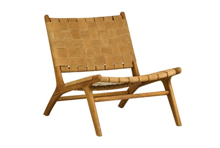 Natural Brown Teak Wood Leather Occasional Chair