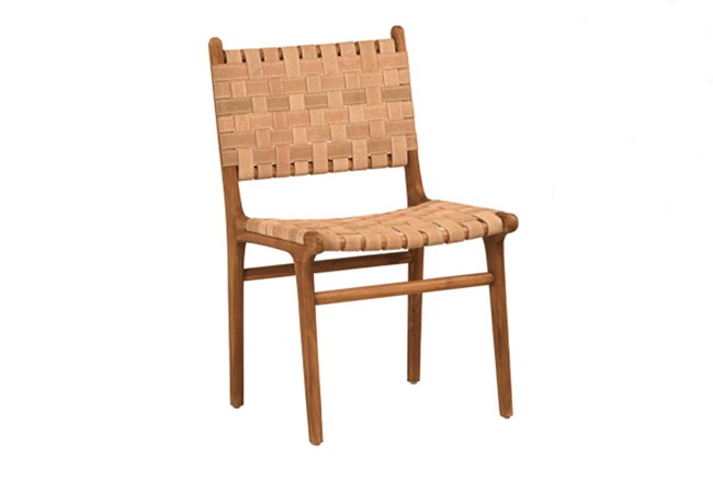 Natural Brown Teak Wood Leather Dining Chair - 360