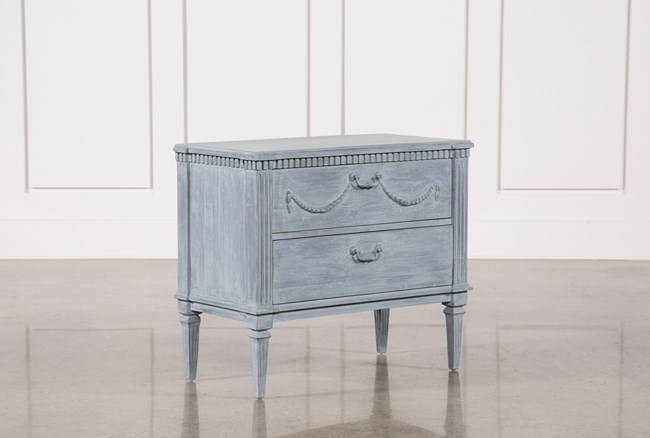 white & blue recycled pine side table | living spaces