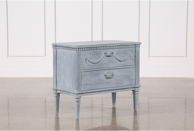 White & Blue Recycled Pine Side Table - 360