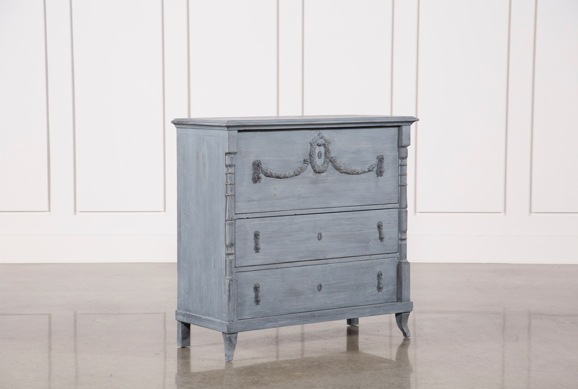 White & Blue Recycled Pine Dresser | Living Spaces