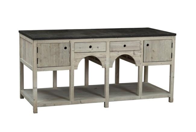 Grey White South Pine 2-Drawer/2-Door Island - 360