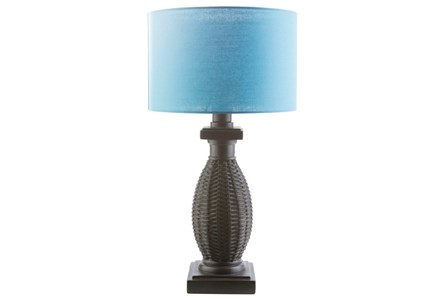 Outdoor Table Lamp-Island Woven Aqua