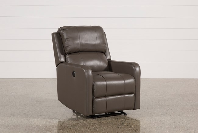 Stanford Leather Grey Power Wallaway Recliner - 360
