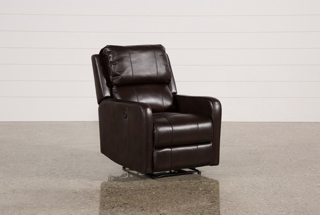 Stanford Leather Brown Power Wallaway Recliner - 360