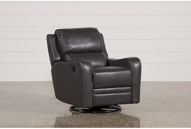 scorpio dark grey swivel glider recliner living spaces
