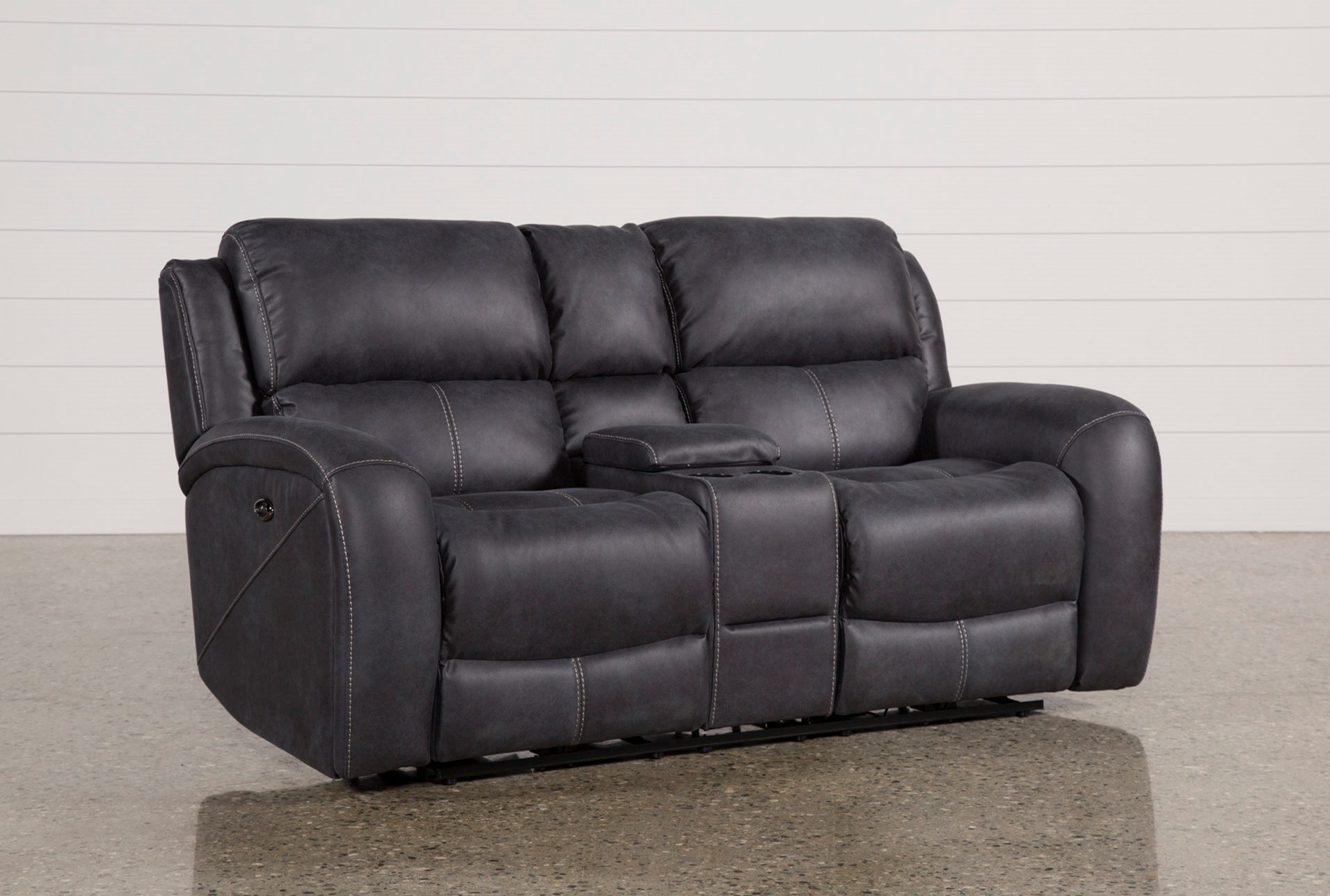 Deegan Charcoal Power Reclining Loveseat Wconsole Living Spaces